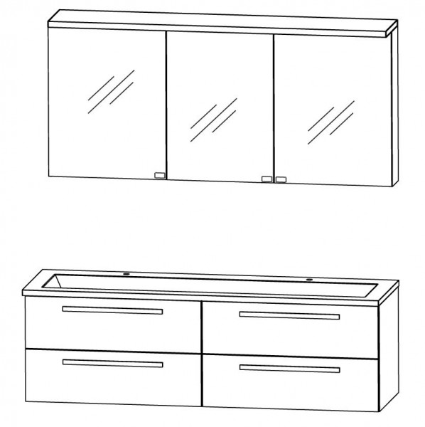 Puris Star Line Badmöbel Set 160,6 cm breit – Spiegelschrank mit Gesimsboden inkl. LED Beleuchtung