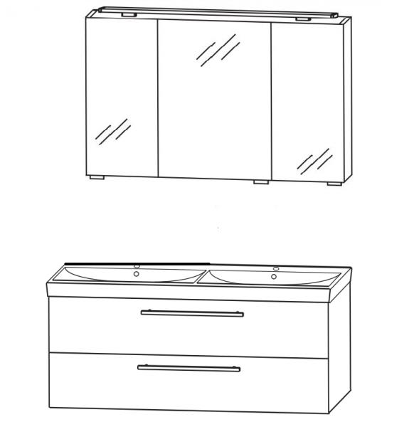 Puris Protection1 - Badmöbelset 2 - 120 cm / mit Spiegelschrank - Serie B
