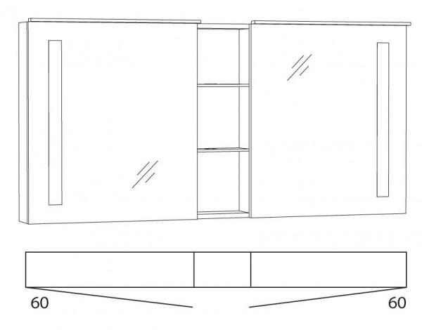 Marlin Bad 3130 - Azure Spiegelschrank 140 cm breit SFLSR14