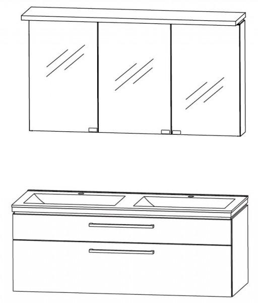 Puris Cool Line Badmöbel Set 122 cm breit - Spiegelschrank inkl. Gesimsboden mit LED-Beleuchtung