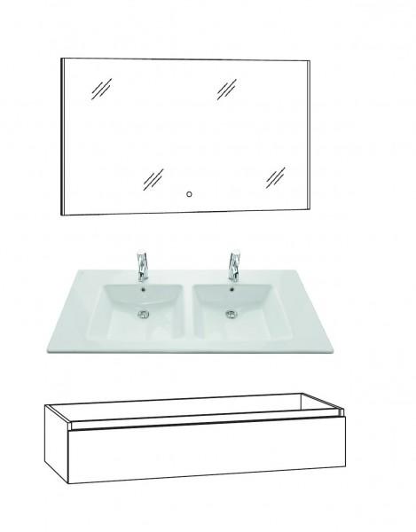 Marlin Bad 3290 Badmöbel Set 120 cm breit, Doppelbecken,Unterschrank variabel - Set 2