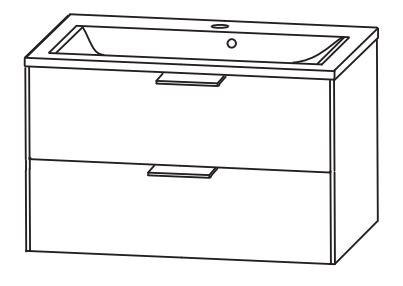Puris d.light Waschtisch mit Unterschrank 73,2 cm breit SETDL70 1