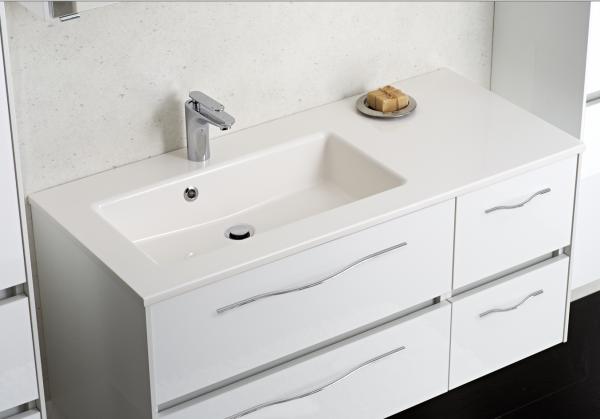 Pelipal Solitaire 6010 Waschtisch mit Unterschrank 113 cm breit 4 Auszüge – Becken Links