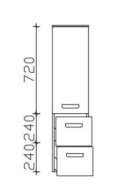 Pelipal Neutraler Bad-Midischrank 1 Tür, 2 Auszüge - Breite wählbar