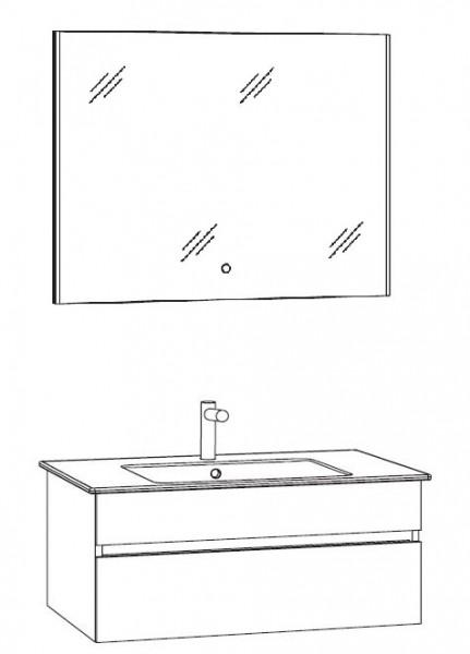 Marlin Bad 3290 Badmöbel Set 80 cm breit, mit Spiegel - Variante 2