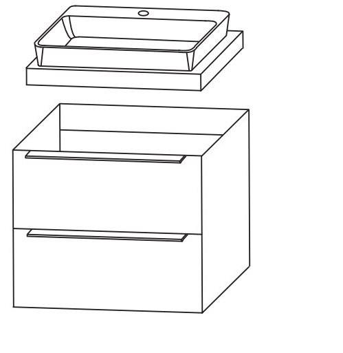 Puris Aspekt Waschtisch mit Unterschrank - 60 cm breit / Set 2