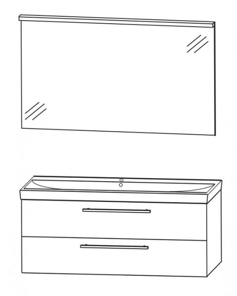 Puris Protection1 - Badmöbelset 3 - 120 cm / mit Flächenspiegel