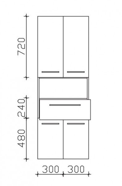 Pelipal Neutraler Bad-Hochschrank 60 cm breit - 4 Türen, 1 Auszug, 1 Fach