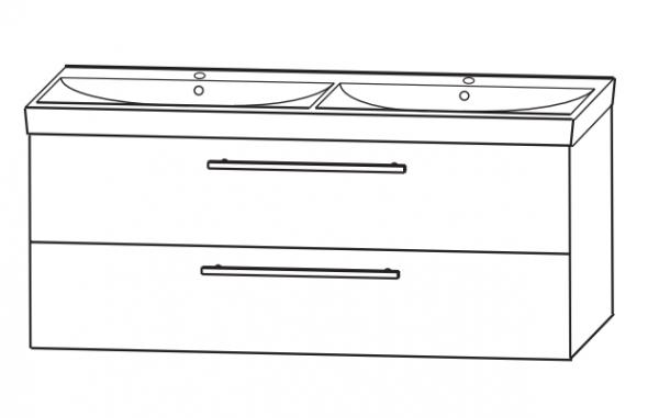Puris Protection1 - Doppelwaschtisch und Unterschrank / 120 cm