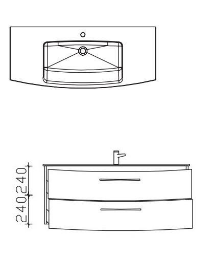 Pelipal Solitaire 7025 Waschtisch mit Unterschrank 121 cm breit - Einzel