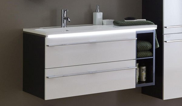 Marlin Bad 3250 Waschtisch mit Unterschrank 100 cm breit, mit Regal + Auszüge