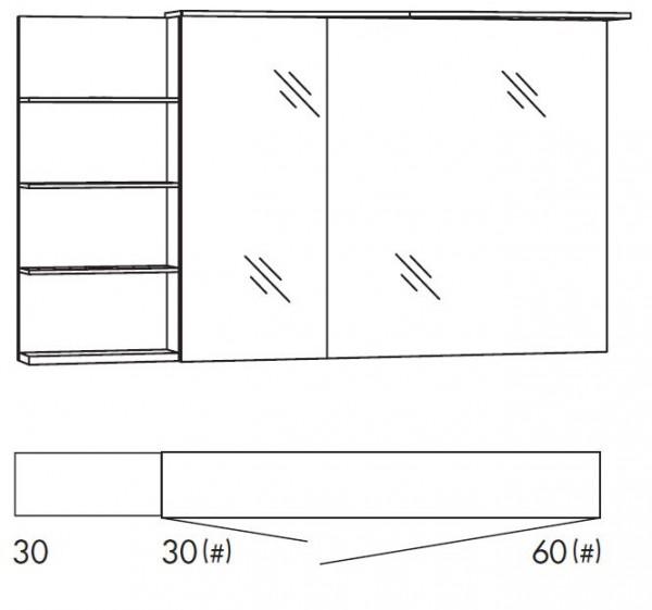 Marlin Bad 3160 - Motion Spiegelschrank 120 cm breit SAOSR36/SAOSR36LS/SAOZR36/SAOZR36LS