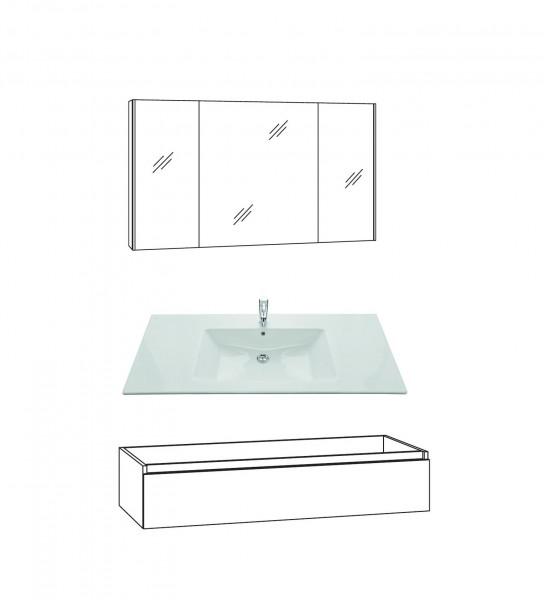 Marlin Bad 3290 Badmöbel Set 120 cm breit, Spiegelschrank, Unterschrank variabel