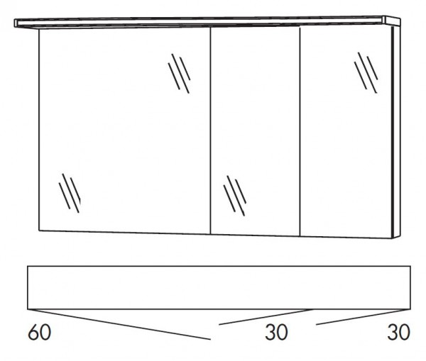 Marlin Bad 3160 - Motion Spiegelschrank 120 cm breit SOBS633