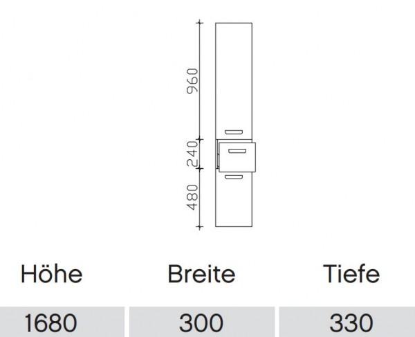 Pelipal Solitaire 6905 Bad-Hochschrank HCL013033 / 2 Drehtüren und Auszug