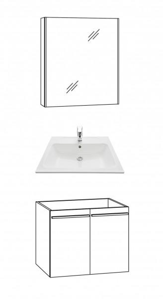 Marlin Bad 3250 Badmöbel Set 60 cm breit, mit Türen / Spiegelschrank
