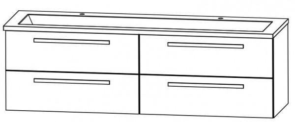 Puris Star Line Doppelwaschtisch mit Unterschrank 160,6 cm breit – Glas
