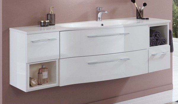 Marlin Bad 3160 - Motion Waschtisch mit Unterschrank 150 cm breit - Becken rechts
