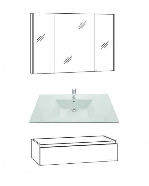 Marlin Bad 3290 Badmöbel Set 100 cm breit, Spiegelschrank, Unterschrank variabel