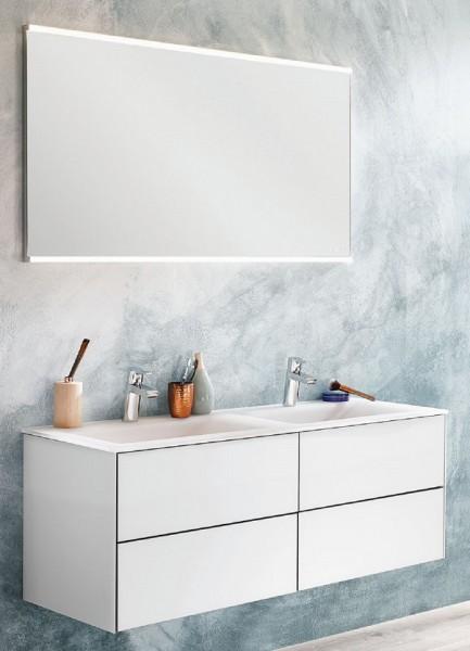 Puris Ice Line Badmöbel Set 122 cm breit mit Badspiegel – Doppelwaschtisch