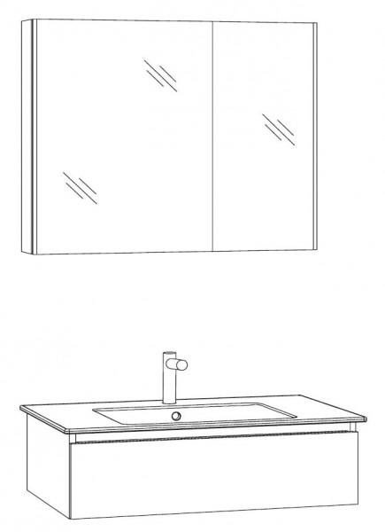 Marlin Bad 3290 Badmöbel Set 80 cm breit, mit Spiegelschrank - Variante 1