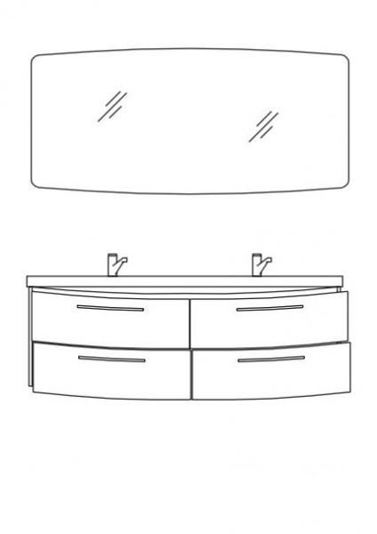 Pelipal Cassca Badmöbel Set 153 cm breit - Set 4.6 mit Flächenspiegel