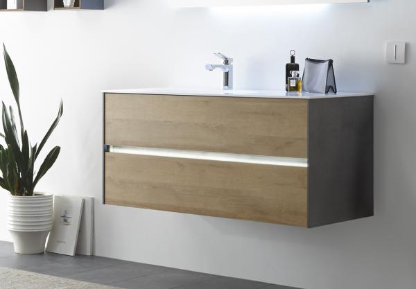 Pelipal Solitaire 6010 Waschtisch mit Unterschrank 113 cm breit 2 Auszüge – Becken Links