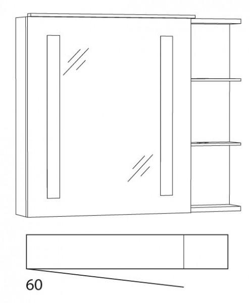 Marlin Bad 3130 - Azure Spiegelschrank 80 cm breit SFLSR8LL / SFLSR8RR