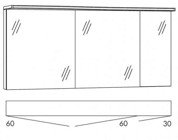 Marlin Bad 3160 - Motion Spiegelschrank 150 cm breit SAOS663OR/SSAOZ663OR
