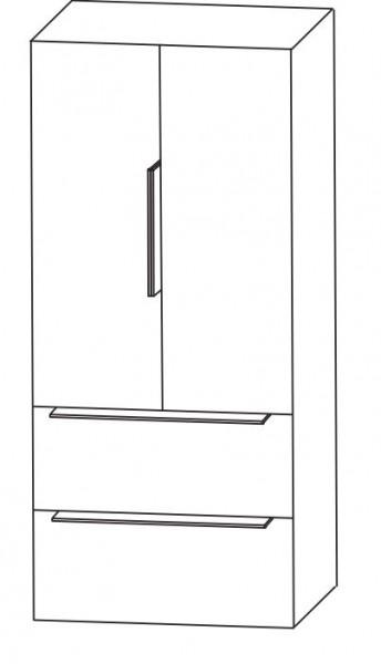 Puris Aspekt Bad-Mittelschrank - mit 2 Drehtüren / 2 Auszügen und Ablageplatte