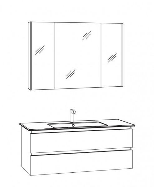 Marlin Bad 3300 - Badmöbelset 101 cm / mit Spiegelschrank