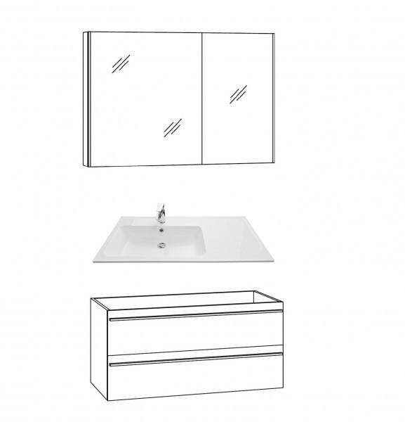 Marlin Bad 3250 Badmöbel Set 100 cm breit, mit Auszügen - Set 1
