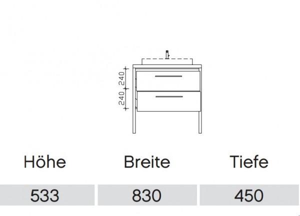 Pelipal Solitaire 9025 Waschtisch mit Unterschrank 83 cm / Aufsatzbecken / Unterschrank mit Auszügen