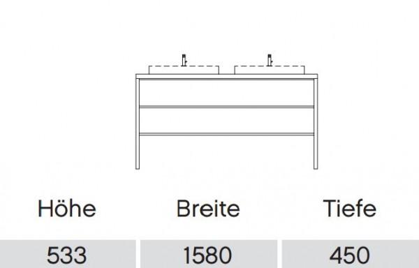Pelipal Solitaire 9025 Waschtisch mit Unterschrank 158 cm / Aufsatzbecken / Unterschrank mit Regal