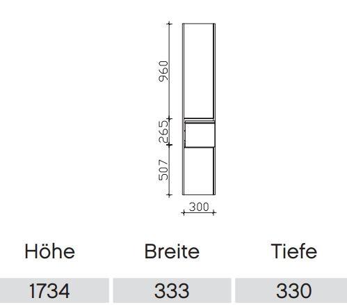 Pelipal Solitaire 6040 Bad-Hochschrank mit 2 Drehtüren und Auszug / 33 cm HLL01033