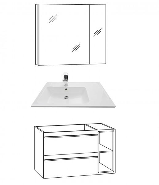 Marlin Bad 3250 Badmöbel Set 80 cm breit, mit Auszüge inkl. Regal, mit Spiegelschrank
