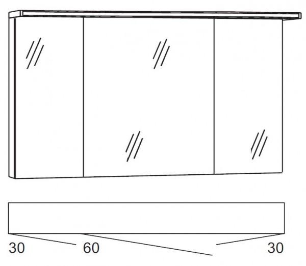 Marlin Bad 3090 – Cosmo Spiegelschrank 120 cm breit SSAOS363 / SSAOZ363