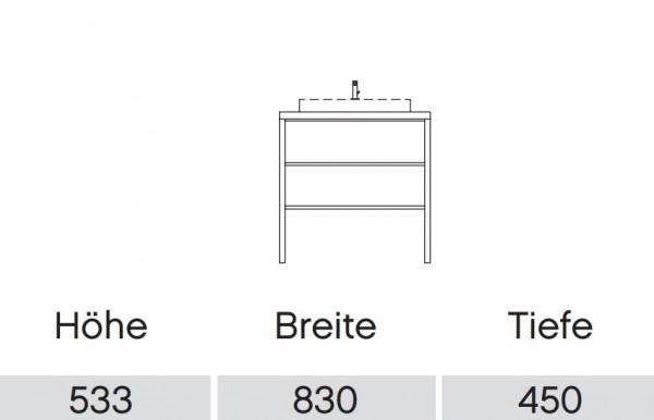 Pelipal Solitaire 9025 Waschtisch mit Unterschrank 83 cm / Aufsatzbecken / Unterschrank mit Regal