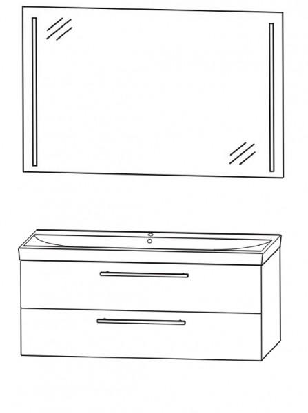 Puris Protection1 - Badmöbelset 3 - 100 cm / mit Flächenspiegel
