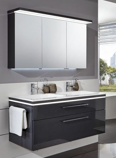 Puris Cool Line Badmöbel Set 122 cm breit - Spiegelschrank inkl. Gesimsboden mit LED Flächenleuchte