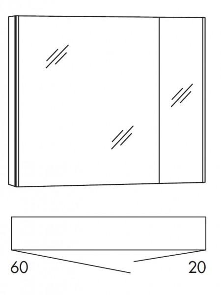 Marlin Bad 3250 Bad-Spiegelschrank 80 cm breit SAD8L / SAD8R