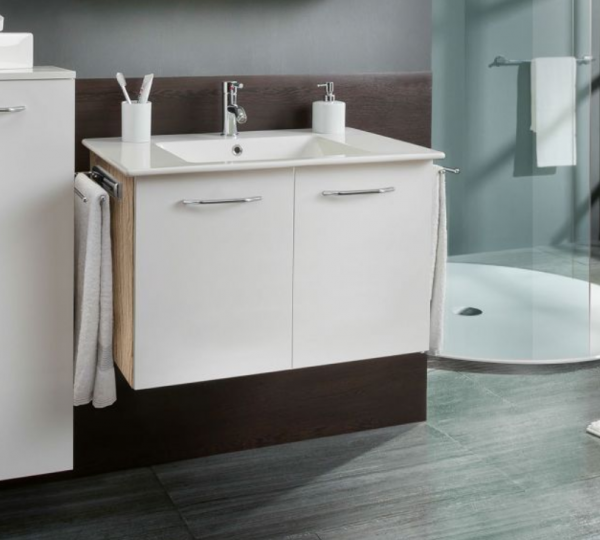 Marlin Bad 3030 - Christall Waschtisch mit Unterschrank 80 cm breit, zwei Türen
