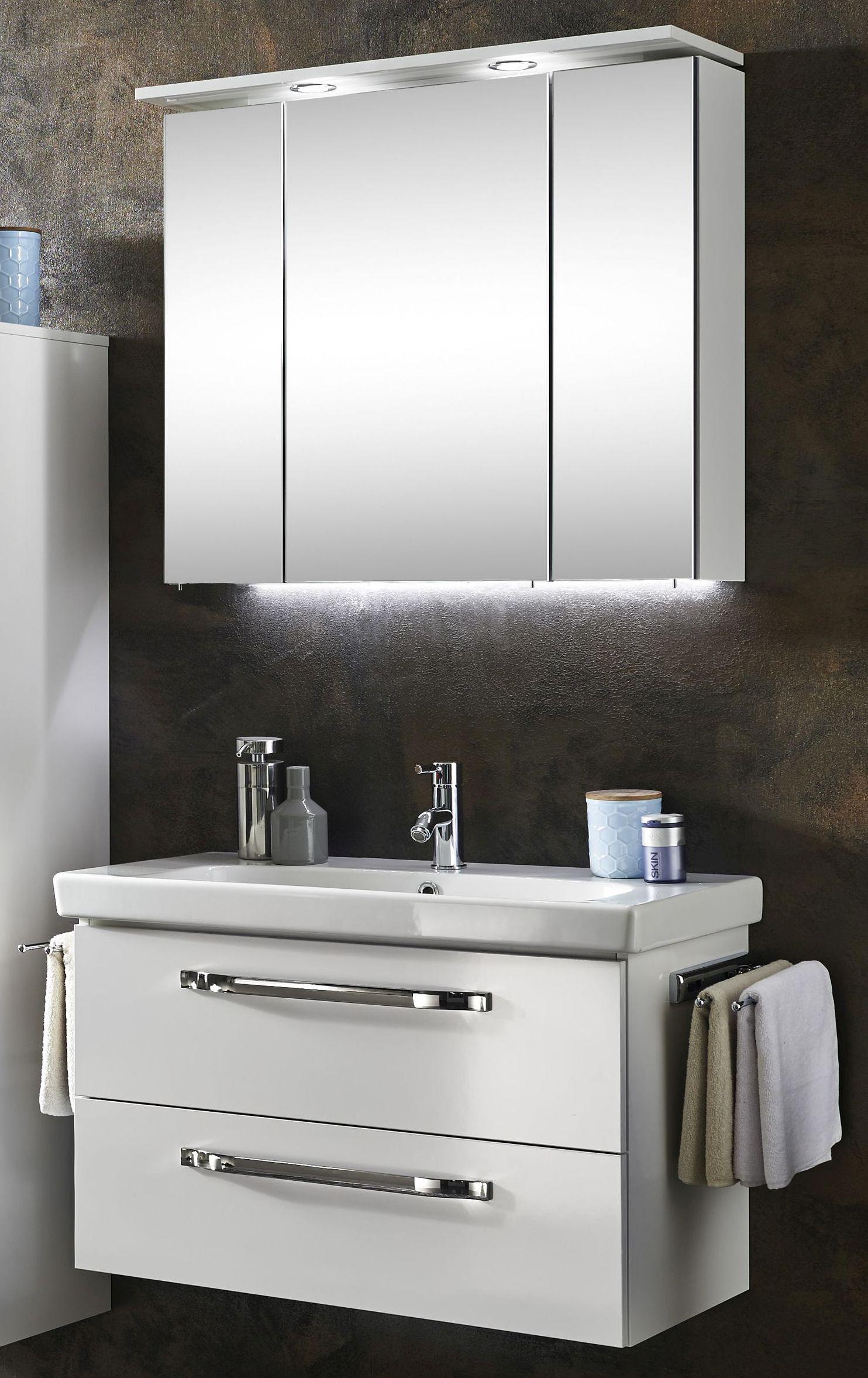 Marlin Bad 20 Badmöbel Set 20 cm breit – Spiegelschrank mit Oberboden  inkl. LED Beleuchtung