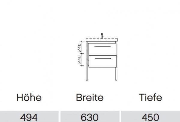 Pelipal Solitaire 9025 Waschtisch mit Unterschrank 63 cm / Mineralmarmor / Unterschrank mit Auszügen