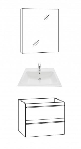 Marlin Bad 3250 Badmöbel Set 60 cm breit, mit Auszügen / Spiegelschrank