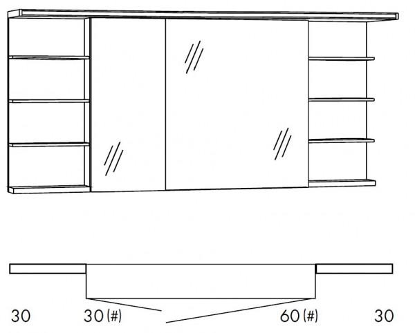 Marlin Bad 3160 - Motion Spiegelschrank 150 cm breit SOBSR36R/SOBSR36RLS