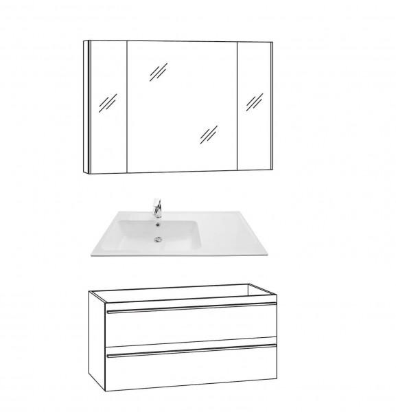 Marlin Bad 3250 Badmöbel Set 100 cm breit, mit Auszügen - Set 2