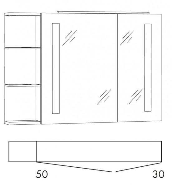 Marlin Bad 3130 - Azure Spiegelschrank 100 cm breit SFLSR10L / SFLSR10R