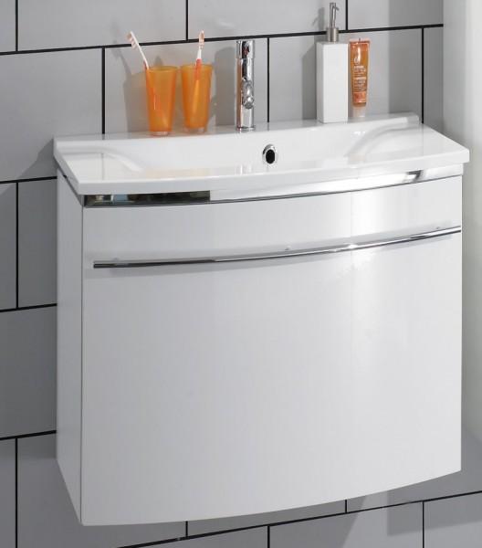 Marlin Bad 3040 - CityPlus Waschtisch mit Unterschrank 60 cm breit, Mineralmarmor, ein Auszug