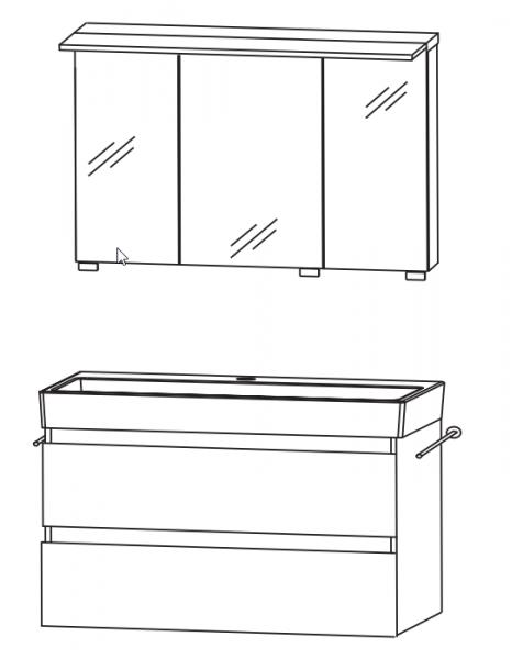 Puris 4Landa - Badmöbel Set 81 cm / mit Spiegelschrank